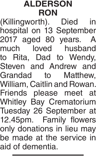 ALDERSON RON : Obituary