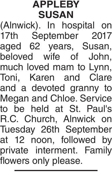 APPLEBY SUSAN : Obituary