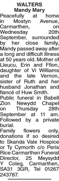 Obituary notice for WALTERS
