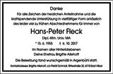 Hans-Peter Fleck : Danksagung