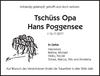 Tschüss Opa Hans Poggensee
