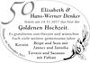 Elisabeth und Hans-Werner Denker Goldenene Hochzeit