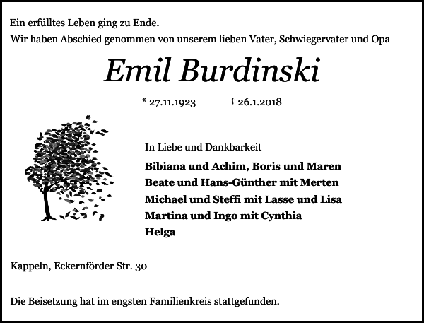 Emil Burdinski - Todesanzeige von 2018