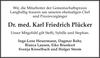 Dr. med. Karl Friedrich Plücker