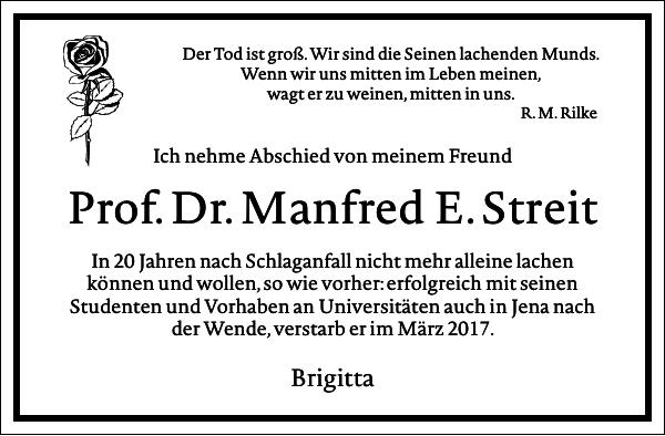 Prof. Dr. Manfred E. Streit