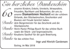 60 Ein herzliches Dankeschön Inge und Hinrich Carstensen