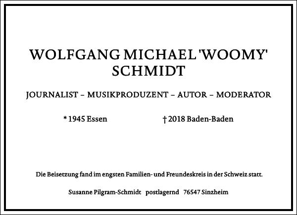 WOLFGANG MICHAEL 'WOOMY' SCHMIDT