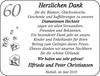 60 Herzlichen Dank Elfriede und Peter Christiansen