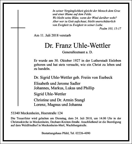 Dr. Franz Uhle-Wettler