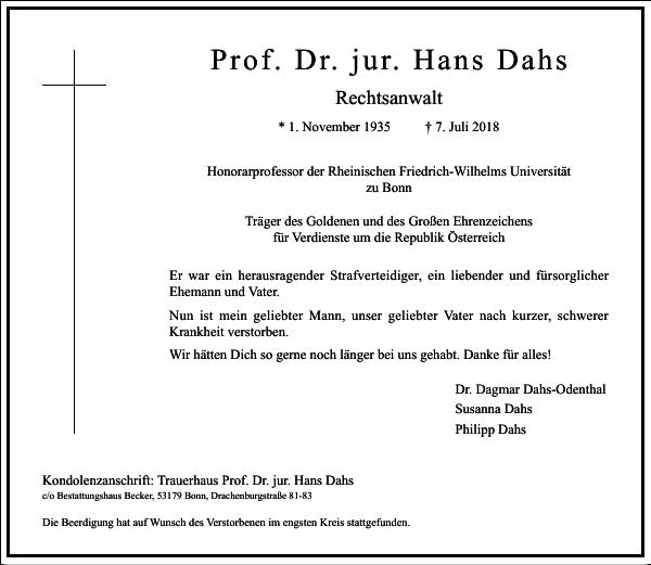 Prof. Dr. jur. Hans Dahs