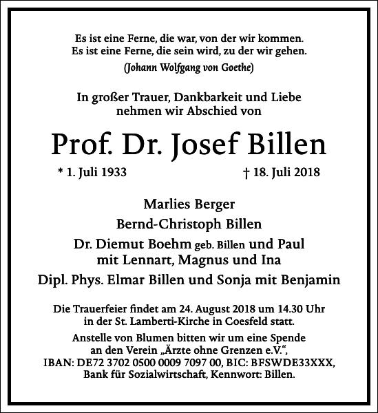 Prof. Dr. Josef Billen