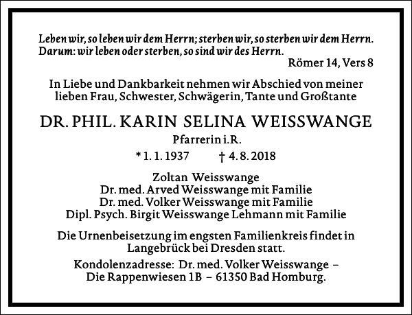 DR. PHIL. KARIN SELINA WEISSWANGE