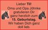 Oma und Opa Jöhnke herzlich haben doll