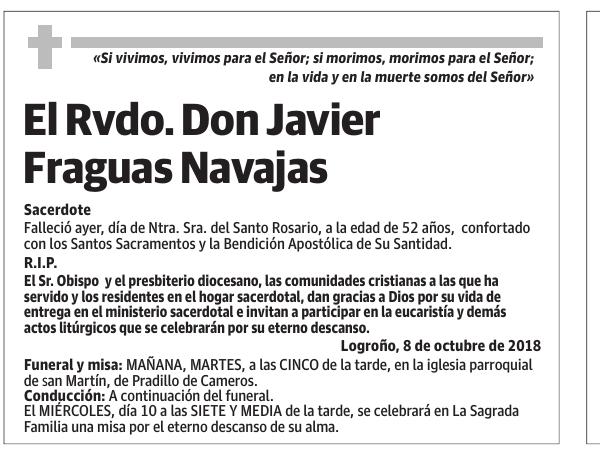El Rvdo. don javier fraguas navajas
