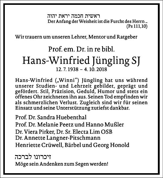 Hans-Winfried Jüngling SJ