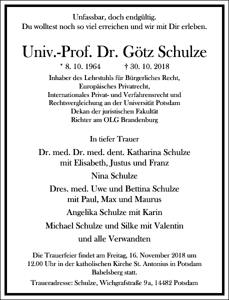 Univ.-Prof. Dr. Götz Schulze