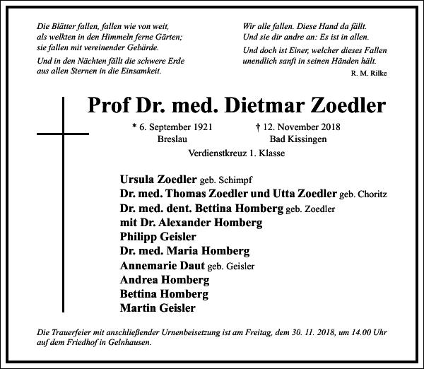Prof Dr. med. Dietmar Zoedler