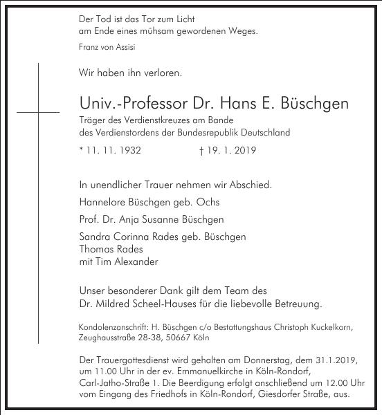 Univ.-Professor Dr. Hans E. Büschgen