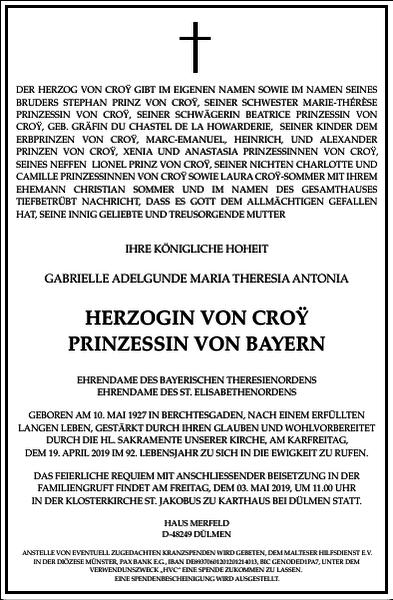 HERZOGIN VON CROŸ PRINZESSIN VON BAYERN