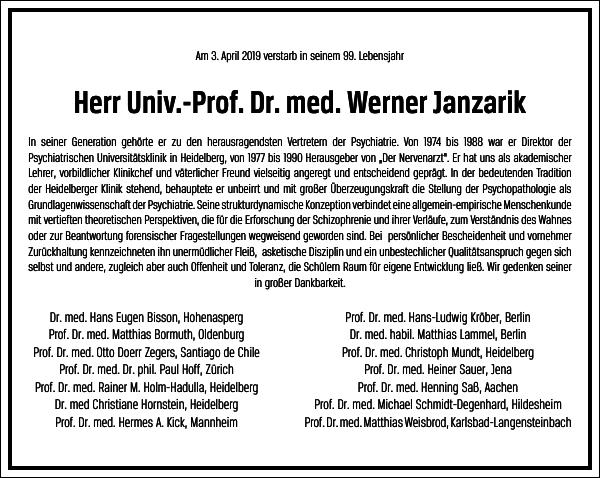 Univ.-Prof. Dr. med. Werner Janzarik