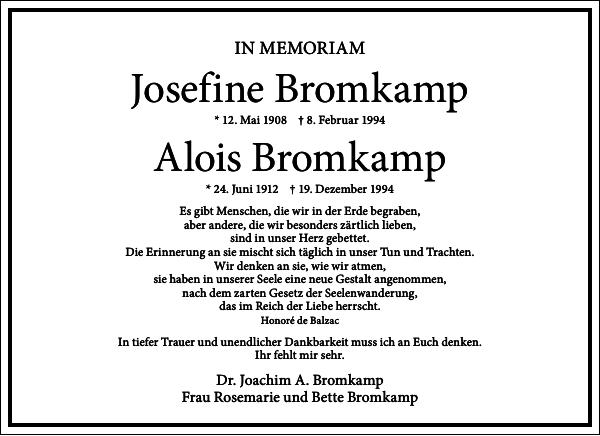Josefine Bromkamp Alois Bromkamp