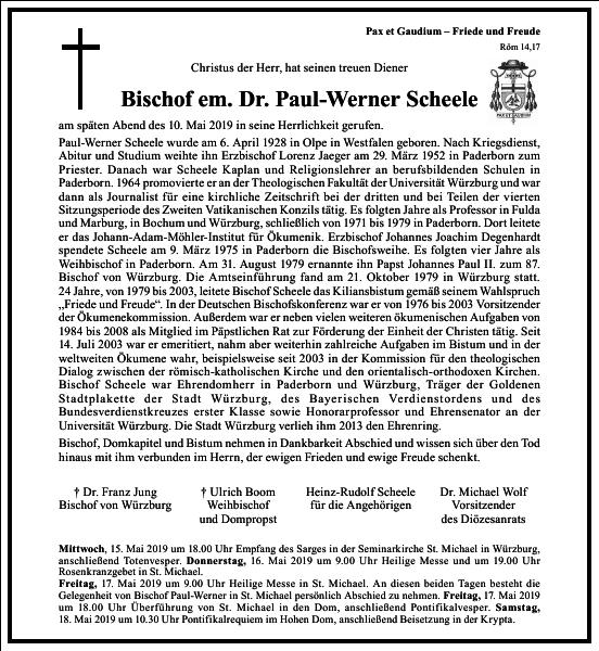 Bischof em. Dr. Paul-Werner Scheele