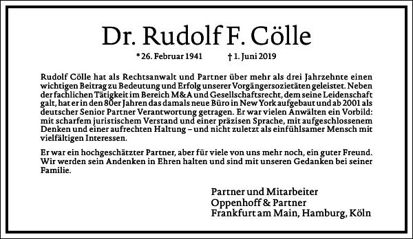 Dr. Rudolf F. Cölle