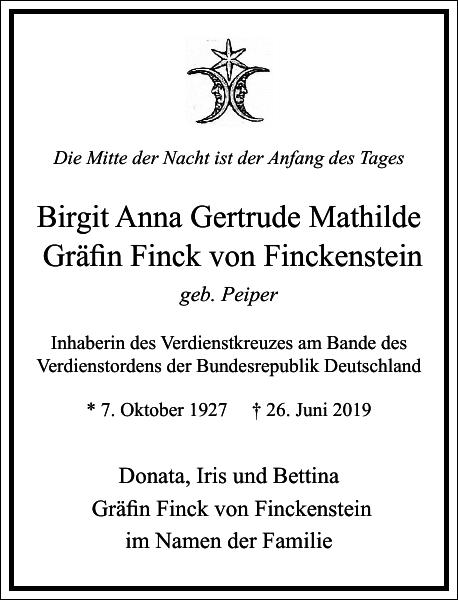 Birgit Anna Gertrude Mathilde Gräfin Finck von Finckenstein