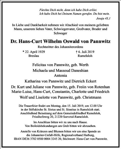 Dr. Hans-Curt Wilhelm Oswald von Pannwitz