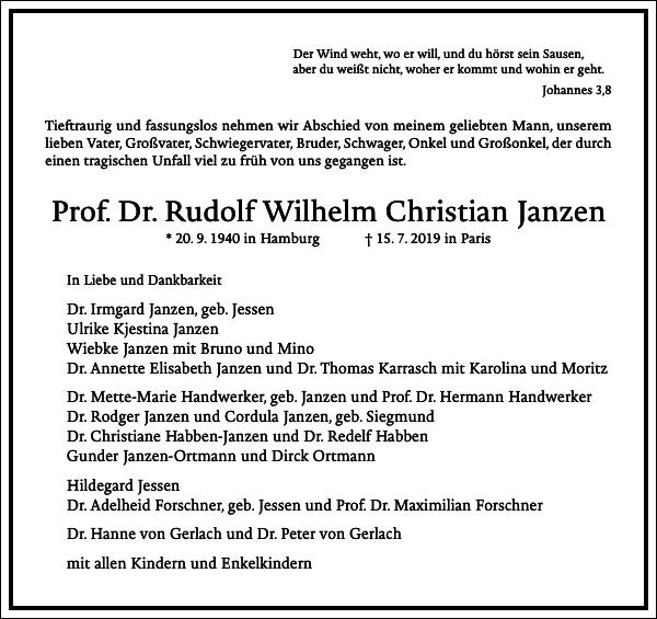 Prof. Dr. Rudolf Wilhelm Christian Janzen