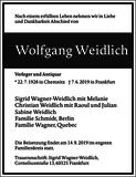 Wolfgang Weidlich : Traueranzeige