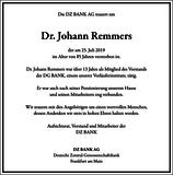 Dr. Johann Remmers : Unternehmensnachrufe