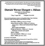 Dietrich Werner Ehregott v. Hülsen : Traueranzeige