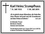 Karl Heinz Stumpfhaus : Traueranzeige