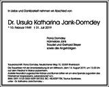 Ursula Katharina Jank-Domdey : Traueranzeige