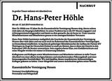 Dr. Hans-Peter Höhle : Unternehmensnachrufe
