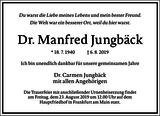 Dr. Manfred Jungbäck : Traueranzeige