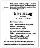 Else Haug : Traueranzeige