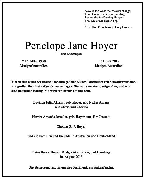 Penelope Jane Hoyer