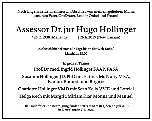 Assessor Dr. jur Hugo Hollinger