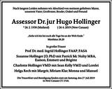 Assessor Dr. jur Hugo Hollinger : Traueranzeige