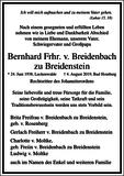 Bernhard Frhr. v. Breidenbach zu Breidenstein : Traueranzeige