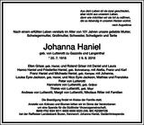 Johanna Haniel : Traueranzeige
