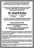 Rudolf Kabel : Traueranzeige