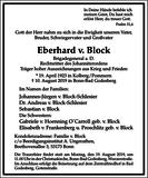 Eberhard v. Block : Traueranzeige