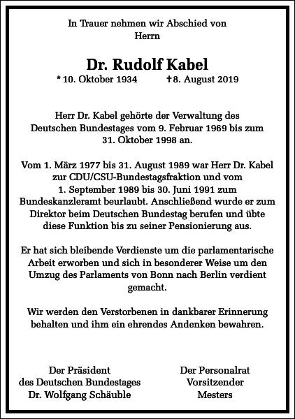 Dr. Rudolf Kabel