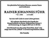 Rainer Johannes Führ : Traueranzeige