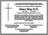 Hans May D. H : Unternehmensnachrufe