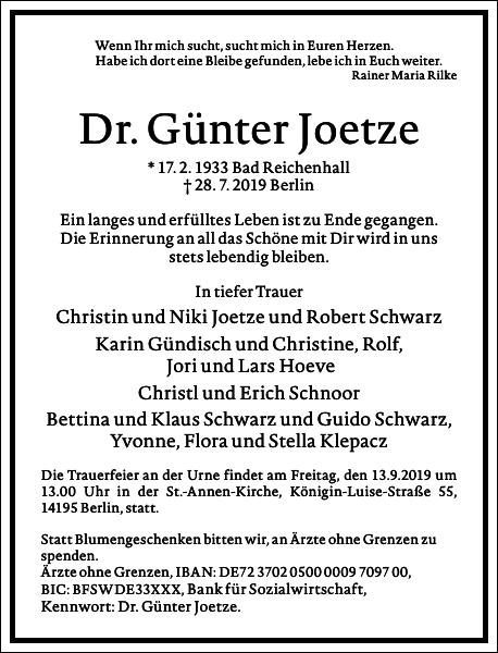 Dr. Günter Joetze
