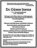 Dr. Günter Joetze : Traueranzeige